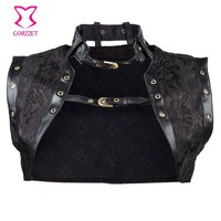 Leather Collar Steampunk Women Corset Jacket