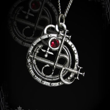 Sceal Sigil of Lilith pendant, with Ruby, Garnet, Labradorite, Moonstone, Emerald, Sapphire, Onyx or other gemstone