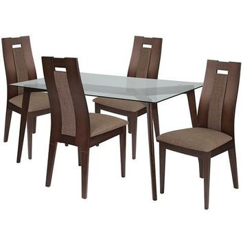 Lincoln 5 Piece Espresso Wood Dining Table Set with Glass Top and Curved Slat Wood Dining Chairs - Padded Seats