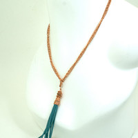 Turquoise Leather Tassel Pendant on Vintage Copper Chain Necklace