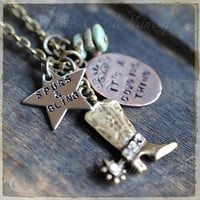 Spurs & Bling it's a cowgirl thing Necklace, Country Rustic, Gift for a Cowgirl, Christmas Gift, Hand Stamped necklace by rubiesandwhimsy