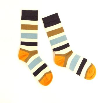 Khaki, Cream, Blue & Orange Multi Stripe Socks