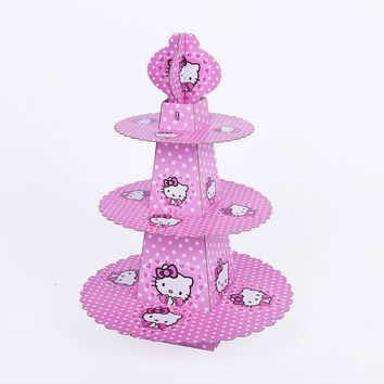 1pcs/set Cartoon Hello Kitty Cat Baby Shower Birthday Party Decorations Supplies Cardboard Cupcake Stand 24 Cupcakes 3 Tier