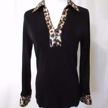 Chico's Travelers Shirt Top Black Animal Print Pullover Long Sleeve