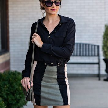 Weekend In NYC Faux Suede Skirt : Black/Taupe/ Olive
