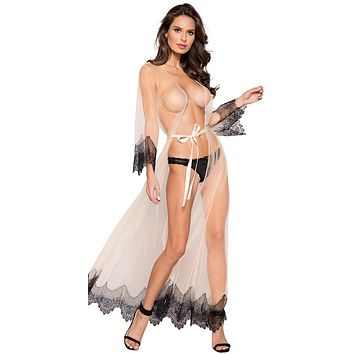 Sexy Night in Paris Sheer Eyelash Lace Maxi Robe