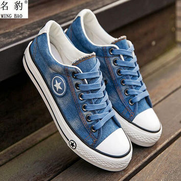 Women's Canvas Casual Washed Denim Tennis Shoes