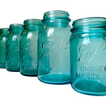 Set of 7 Vintage Blue Ball Perfect Mason Jars Wedding Decor Tiffany Blue Turquoise Aqua