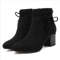 New women's boots fashion fringed boots with boots, high heel Martin boots shoes