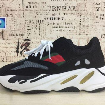 DCCKL8A Jacklish Adidas Yeezy Wave Runner 700 Black White Red For Sale