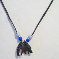 Black Beaded Carved Elephant Cord Necklace Unisex Jewelry Boho Fashion Accessories For Her  For Him