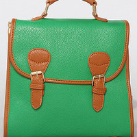 The Buckle Messenger Bag in Green
