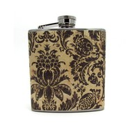 Aged Damask LIquor Hip Flask 6 or 8 oz by thehairofthedog on Etsy