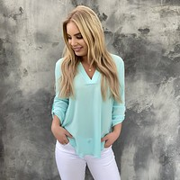 Nine to Five 3/4 Sleeve Mint Blouse