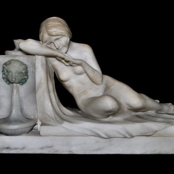 Art Deco Marble Nude Reclining Lady Lamp Light-Up Lion's Head Fountain 1920s Signed