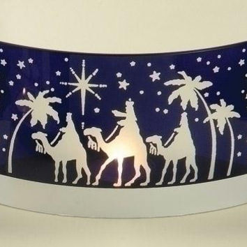 Candle Holder - Royal Blue Religious Scene