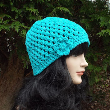 Aqua Blue Crochet Hat - Womens Beanie with Flower - Ladies Cap - Spring Fashion Accessories