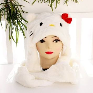 Hello Kitty Plush Hood With Mitten 3-in-1 combo hat, Scarf, Glove