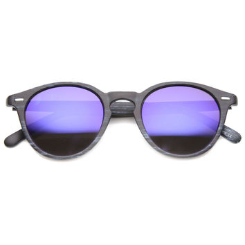 Dapper Horned Rim Wood Print Mirror Lens Sunglasses 9812