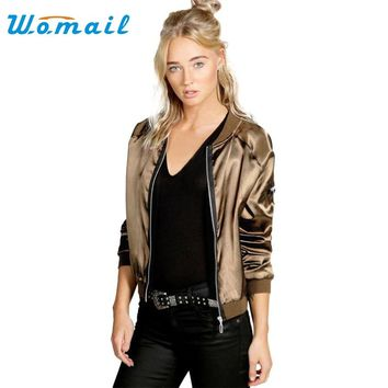 Vintage Solid Polyster Patch Designs Sequins Baseball Bomber Zipper Jacket Coat Pilots Trendy Women Outwear Top 2 Colors