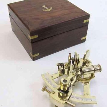 Sextant Brass With Wooden Box Nautical Beauty Easy To Use