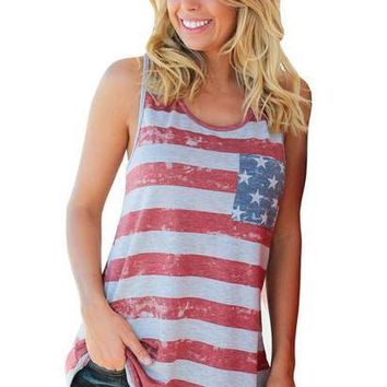 b304f0058e47 Summer Top Women American Flag Stripe Printed Bowknot Tank Tops