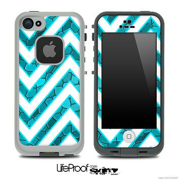 Large Chevron and Blue Tiled V1 Skin for the iPhone 5 or 4/4s LifeProof Case