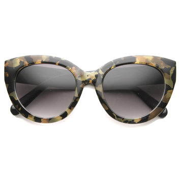 Women's Oversize Block Cut Marble Pattern Cat Eye Sunglasses 9827