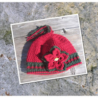 Crochet Christmas Hat Poinsettia Red and Green Made to Order Choose Size