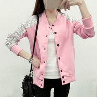 Autumn Baseball Jacket Women Bling Sequined Sweatshirt S-XL 2016 Fashion Women Hoodies Sweatshirts Pink Hoody Women Black