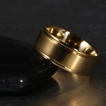 8mm Gold Stainless Steel Band Ring