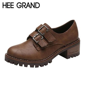HEE GRAND Retro Style with Buckle Women Oxford Medium Heel Pumps Woman Oxfords Casual Shoes Fashion Boots Women  XWD6176