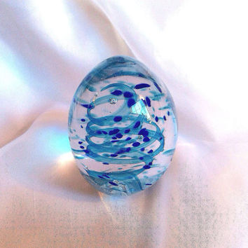 Handmade Glass Paperweight with Aqua And Cobalt Blue.  Hand Blown Glass Art.