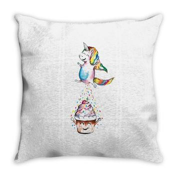 Cute Unicorn and Happy Cupcake Throw Pillow