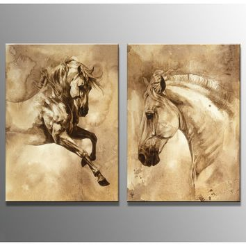 2 The Panel Wall Art of Brown Horse Painting Pictures Print On Canvas The Picture For The Home Modern Decoration piece(Frame:No)