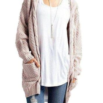 CREYC8S Women's Beige Casual Long Sleeve Cable Knitted Long Sweater Open Cardigan Jacket
