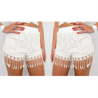 Personality Fashion Solid Color Lace Stitching Tassel Shorts Hot Pants