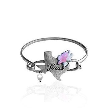 Wonderent TEXAS State Map Script Western Bangle Bracelet with Floral Accent and Pearl Bead By