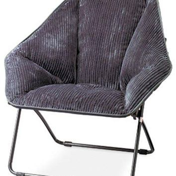 Zenithen IC576S-TV06 Comfortable Hexagon Folding Corduroy Dish Chair, Gray