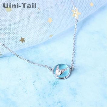 Uini-Tail new 925 sterling silver mermaid tear necklace blue bubble Korean version of the simple fashion dynamic small fresh