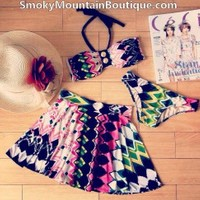 Multi Color 3 Piece Swimsuit Set With Top, Bikini Bottom & Skirt (XS/S/M) 228 - Smoky Mountain Boutique