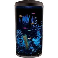 KollerCraft Aquarius Panoramic GloFish Aquarium with LED Lighting and Internal Power Filter, 6-Gallon