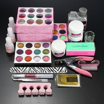 Professional Acrylic Powder Liquid Glitter Beads Brush Nail Art Tool Set Kit