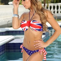 Union Jack Flag Print Push Up Sexy Bandeau Bikini