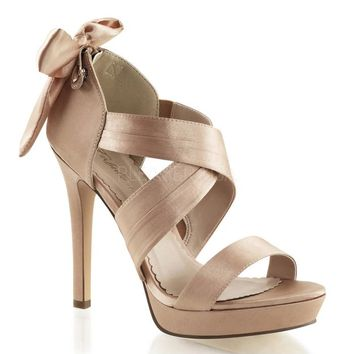 Pleaser Female 4 3/4 Inch Heel, 1 Inch Platform Criss Cross Sandal With Back Bow, Back Zip LUMINA29