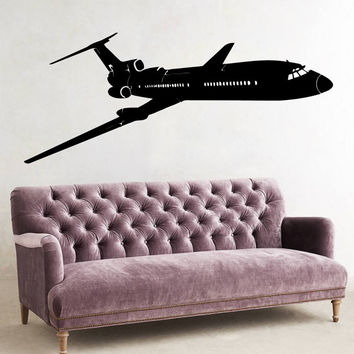 Wall Decals Plane Airplane Boeing Aircraft Vinyl Decal Sticker Home Art Mural Interior Design Boy Kids Nursery Baby Room Decor D80