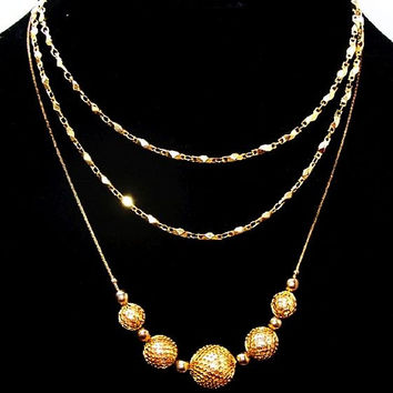 "Napier Long Chain Signed & Gold Mesh Ball Necklace 2 Fashion Pieces 30"" 18"" Vintage"