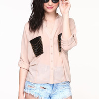 CHAIN POCKETS BLOUSE