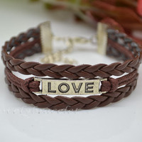 Wax braided rope, leather bracelets, bracelet love, suitable for birthday, girl's gift