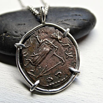 Roman Imperial coin necklace silver, ancient coin pendant, unique necklace coin, ancient coin jewelry, antique coin necklace, antique gift